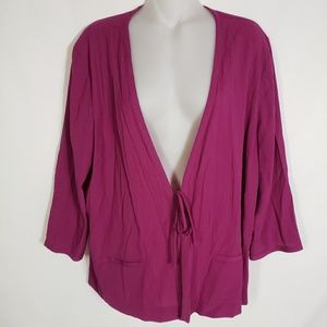 Jaclyn Smith Violet Open Front Cardigan Ties Large